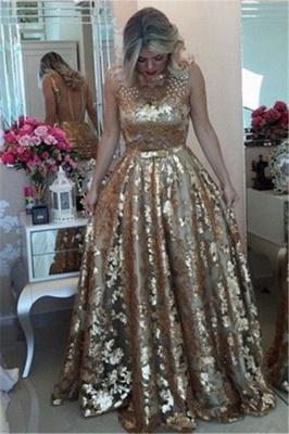Glamorous Gold Straps Beaded Sequins Sleeveless Prom Dress_3