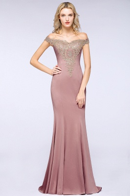 Simple Off the Shoulder Appliques Fitted Floor Length Evening Gown_20
