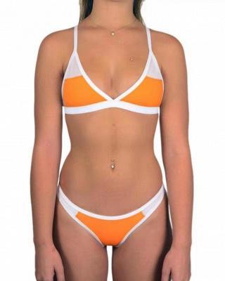 Triangle Pads Colorful Plain Sheer Net Sexy Bikini Sets_5