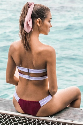 Strapless Knot Bandage Red Sexy Bikini Swimsuits_8