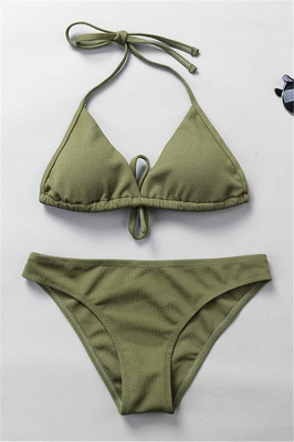 Plain Triangle Pads Halter Two Piece Sexy Bikini Sets_19