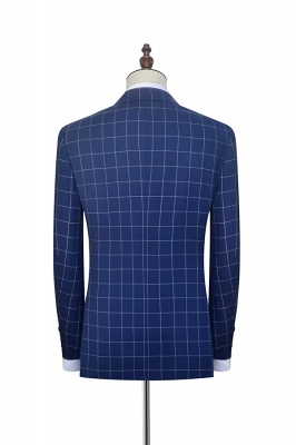 Newly Deep Blue Grid Wool Peak Lapel Custom Made Suit | Single Breasted Two Button Unique Wedding Suit For Groom_4