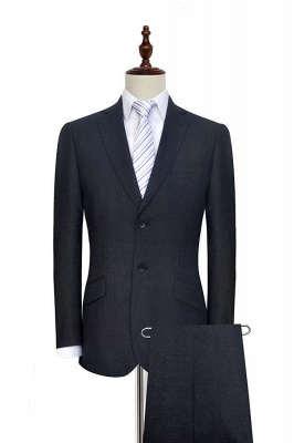 New Black Tweed Notched lapel Custom Suits for Formal | High Quality Single Breasted 2 Pockets Hand Made Wool Suit_1
