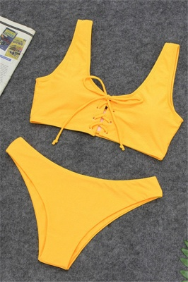 Plain Straps Lace-up Two Piece High Waist Sexy Bikini Sets_2