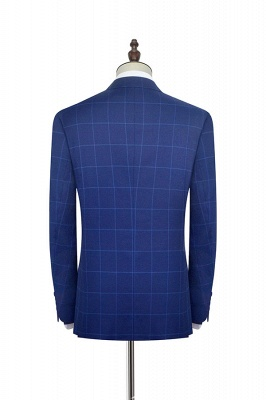 Blue Plaid Notched Lapel Custom Suit for Men | Latest Design Single Breasted Two Pockets Hand Made Men Suit_4