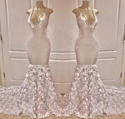 Glamorous Halter Deep V-Neck Flower Sexy Mermaid Prom Dresses_2