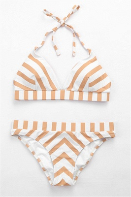 Triangle Pads Streaks Halter Two Piece Sexy Bikini Swimsuits_5