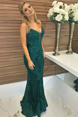 Green Beaded Spaghetti-Straps Appliques Sleeveless Sexy Mermaid Evening Gown_4