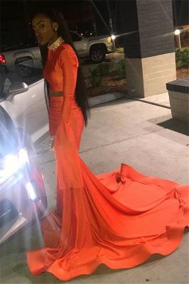 Sexy Orange Long-Sleeves High-Neck Sexy Mermaid Long Prom Dress_3