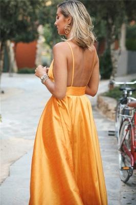 Gorgeous Orange Spaghetti-Straps Sleeveless V-Neck  Prom Dress_2