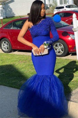 Royal Blue One-Shoulder Appliques Mermaid Evening Gown_1