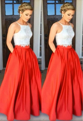 Glamorous Two-Piece Prom Dresses White Red A-line Evening Gowns_3