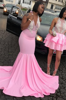 Gorgeous Pink Halter Sleeveless Sexy Mermaid Girl's Evening Gown_2