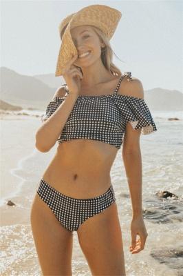 Black and White Grid Swimwear Seaside | Summer Popular Cheap Sexy Bikini Online for Beach_1