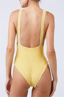 Yellow V-neck Knot One Piece Open Back Bathing Suits_9