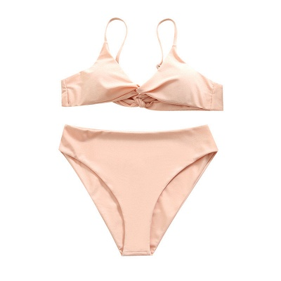 Vintage Nude Pink Knot Straps Two Piece Sexy Bikinis_7