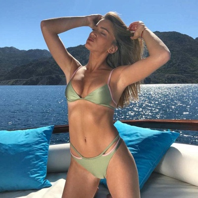 Spaghetti Straps Triangle Pads Plain Sexy Bikini Sets_7
