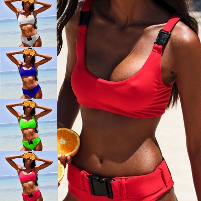 Plain Scoop Colorful Two Piece Buckled Sexy Bikini Swimsuits_9