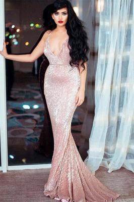 Sexy Spaghetti-Straps V-Neck Sleeveless Sequins Sexy Mermaid Prom Dress_1