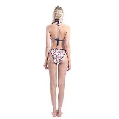 Floral Prints Triangle Pads Halter Bandage Two Piece Sexy Bikini Swimwear_3