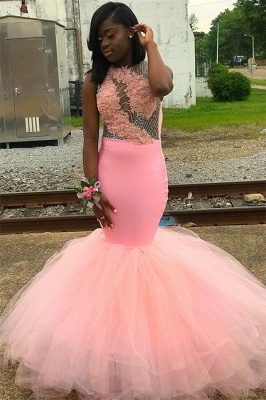 Pink Sleeveless Appliques Backless Mesh Sexy Mermaid Prom Dresses_1