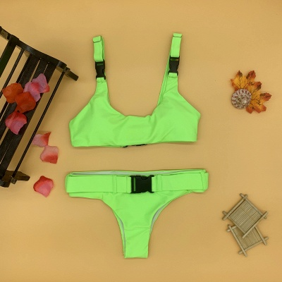 Plain Scoop Colorful Two Piece Buckled Sexy Bikini Swimsuits_11