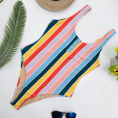 One Piece Buttons Straps Colorful Stripes Swimwear_5
