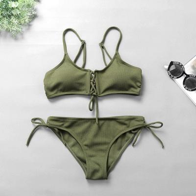 Spaghetti Straps Lace-up Bras Two Piece Sexy Bikini Swimsuits_11