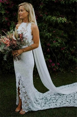 Sexy Mermaid Lace Appliques Halter Backless Wedding Dresses_1