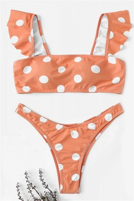 White Dots Pink Bandeau Two Piece Sexy Bikini Swimsuits_5