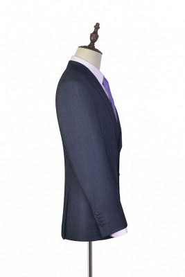 Dark Grey Wool Stripe Two botton Suit For Men   New Arriving Single Breasted Wedding Suit For Groom_5