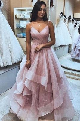 Gorgeous Pink Spaghetti-Straps  Mesh Ruffle Prom Dresses_1
