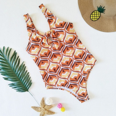 Totem Patterned Front Cut-out Ribbon One Piece Swimwear_5