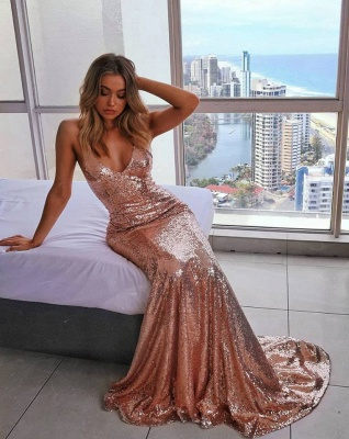 Sexy Spaghetti-Straps Sequins Sleeveless Mermaid Prom Dress_2