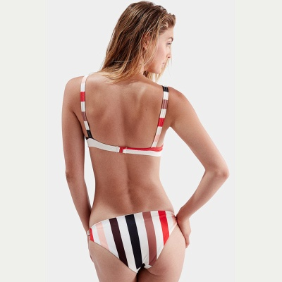 Stylish Stripes Spaghetti Straps Knot Two Piece Sexy Bikinis_4