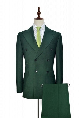 Green Double Breasted Tailored Suit For Formal   Peaked Lapel 3 Pockets Custom Made Causal Suit_1