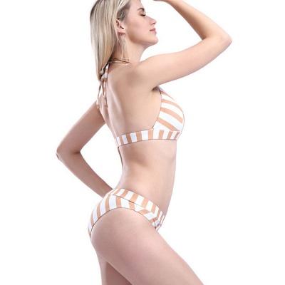 Triangle Pads Streaks Halter Two Piece Sexy Bikini Swimsuits_6