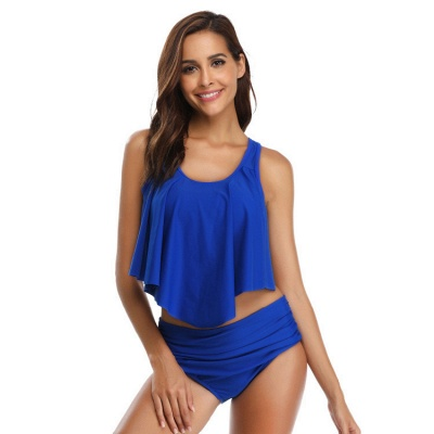 Ruffles Solid Pads Spaghetti Two Piece Swimsuits_2
