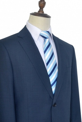 Dark Grey Blue Notched Lapel Custom Suit For Men   Fashion Single Breasted Two Botton Business Men Suit_6