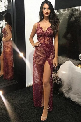 Burgundy Straps V-Neck Lace Appliques Beading Side-Slit Mesh Detachable  Evening Gown_2