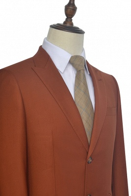 New Arrival Rust Red Two Button Custom Suit For Office | Single Breasted Peaked Lapel Tailoring Suit_6