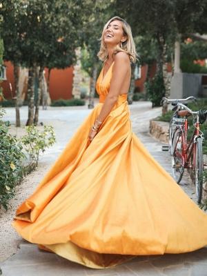 Gorgeous Orange Spaghetti-Straps Sleeveless V-Neck  Prom Dress_3