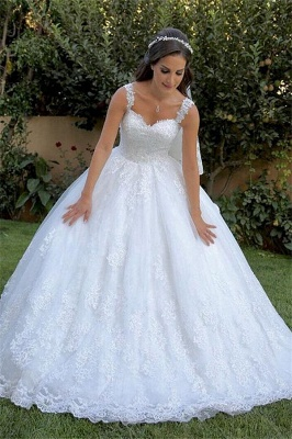 Stunning Straps Lace Appliques A-line Wedding Dresses_1