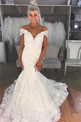 Glamorous  Off-the-Shoulder Lace Appliques Wedding Dresses | Stunning Floral Bridal Dresses_1