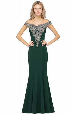 Simple Off the Shoulder Appliques Fitted Floor Length Evening Gown_8