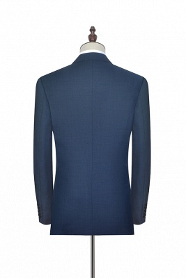 Dark Grey Blue Notched Lapel Custom Suit For Men   Fashion Single Breasted Two Botton Business Men Suit_4