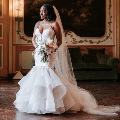 Stunning Spaghetti-Strap Lace Appliques Wedding Dresses_2