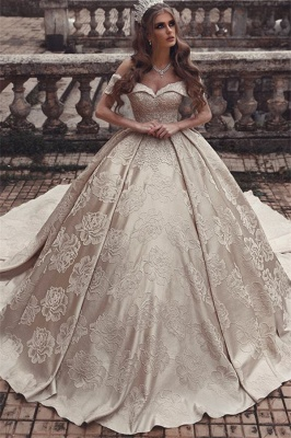 Gorgeous Off-The-Shoulder Strapless Ball-Gown Long Wedding Dress