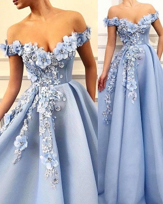 Gorgeous Off-The-Shoulder Flower Appliques Sleeveless  Prom Dress_2