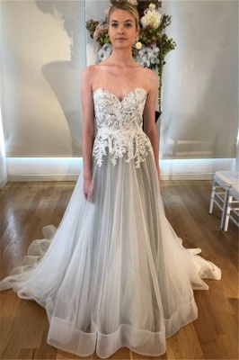 Lace Appliques Sweetheart Wedding Dresses | Sleeveless Backless Floral Bridal Gowns